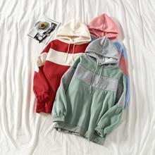 Mooirue Autumn Winter Hoodies Women Patchwork Harajuku Streetwear Plus Size Kawaii Korean Style Loose Sweatshirt Pullovers