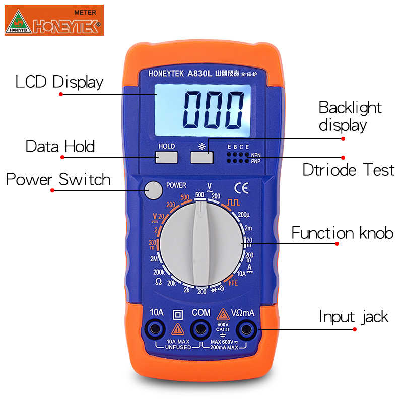 A830L Mini Digitale Multimeter Meter Tester AC/DC Spanning Weerstand 200μA ~ 10A Tester Detectio