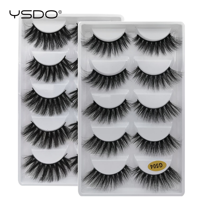 YSDO 5 Pairs Eyelashes 3d Mink Lashes Makeup False Eye Lashes Natural Long Mink Eyelashes Volume Lashes Maquillaje Faux Cils G5