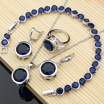 Bride Luxury 925 Silver Jewelry Sets Blue Sapphire for Women Drop Stones Earrings Rings Bracelet Necklace Set Dropshipping water drop wedding jewelry sets bride silver color jewelry accessories bracelet necklace set for women dropshipping