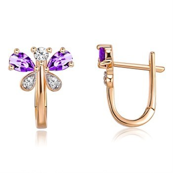 Copper Butterfly Purple White Zircon Champagne Gold Color Separation Earrings KZCE295 ear rings for women image