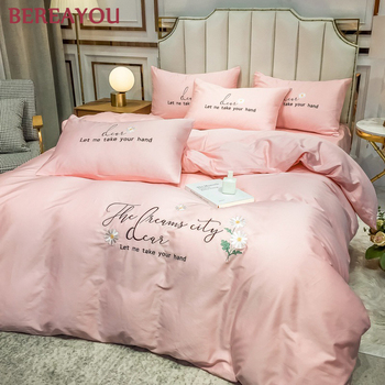 Soft Bedding Sets Luxury Bed Sheet set Long-staple Cotton Bed Linen and Pillowcase Queen King Size Duvet Cover Set Hotel Bedding pink cherry strawberry printing fleece fabric girl bedding set flannel duvet cover bed sheet linen pillowcase crown big backrest