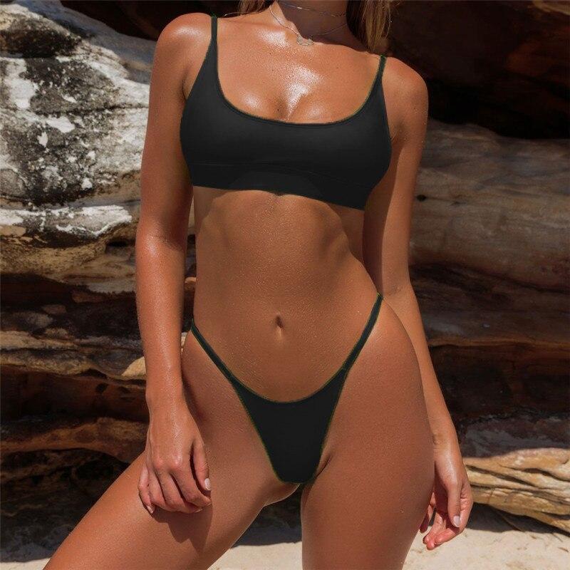 Sexy Bikini Set Two Piece Swimsuit Bikinis Swimwear Women Solid Biquini Popular Female Swimming Suit Beachwear Bathing Suit