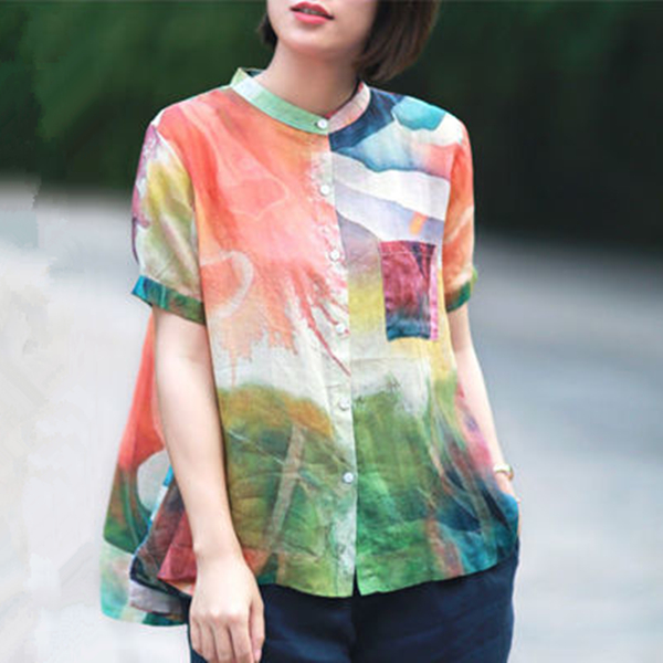 Women Fashion Elegant Casual Look Shirt Female Tops Cute Polka Dot Print Weekend Blouse Summer Single Breasted Shirt and Blouse 22