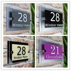 Индивидуальный современный знак на дом 200x140 мм, табличка с номером двери, уличный стеклянный эффект, акриловое название