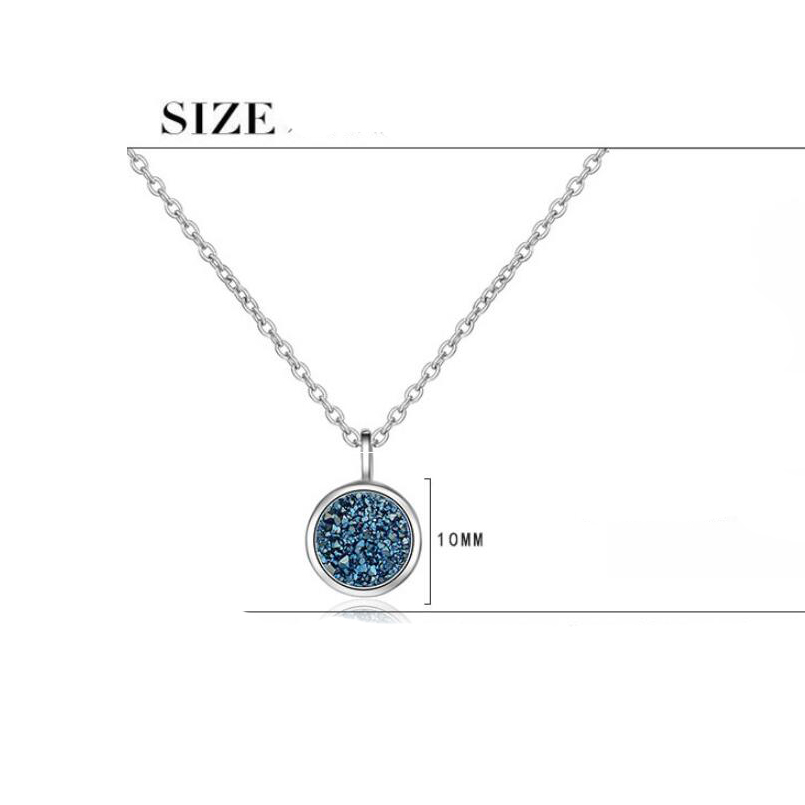 Купить с кэшбэком Female Blue Planet Crystal Round Pendant Necklace For Women Water Drop Pendant Necklaces Dream Star Short Jewelery Fashion Chain