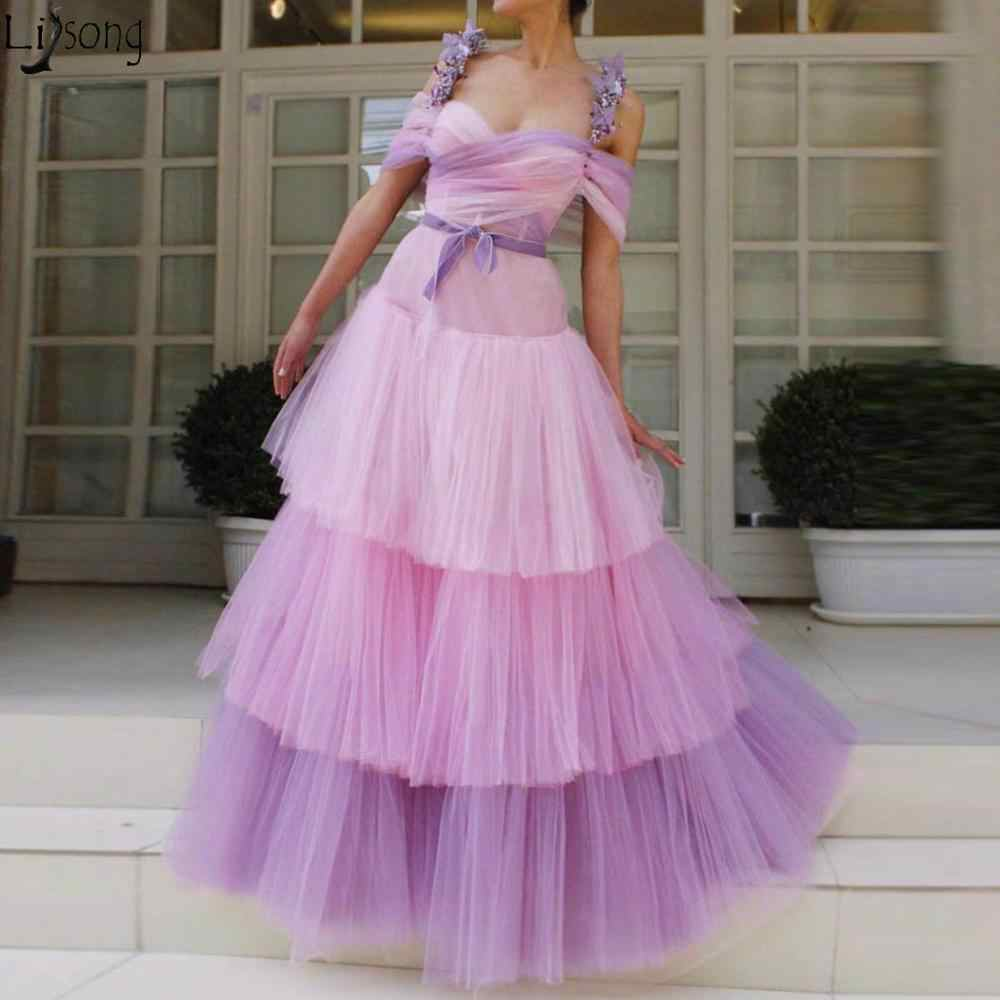 charming pastell veilchen lange abendkleid 2020 tiered gemischt farben tüll  blüte straps prom kleider formales kleid robe de soiree
