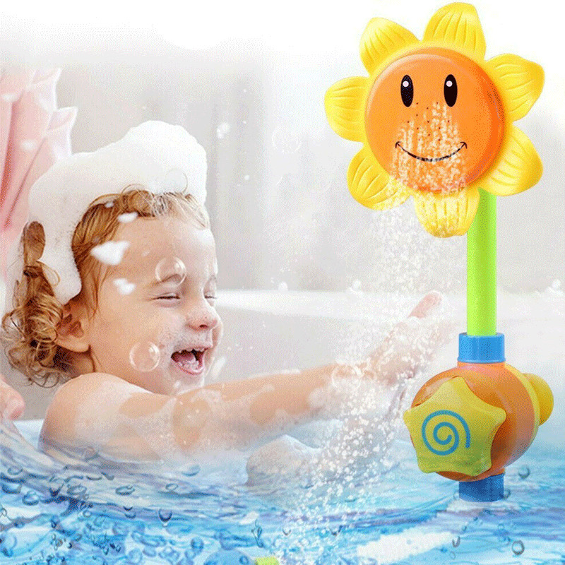 Pudcoco 2020 Kids Sunflower Baby Bath Toys Water Shower Spray Bathing Tub Fountain Toy Gifts Shower Bathroom Products