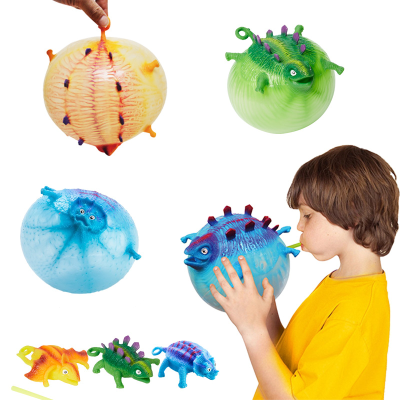 Cute Baby Balloon Toy Funny Blowing Dinosaur Toys Cartoon Dinosaur Balloon Relief Stress Anxiety Inflatable Balloon Squeeze Ball
