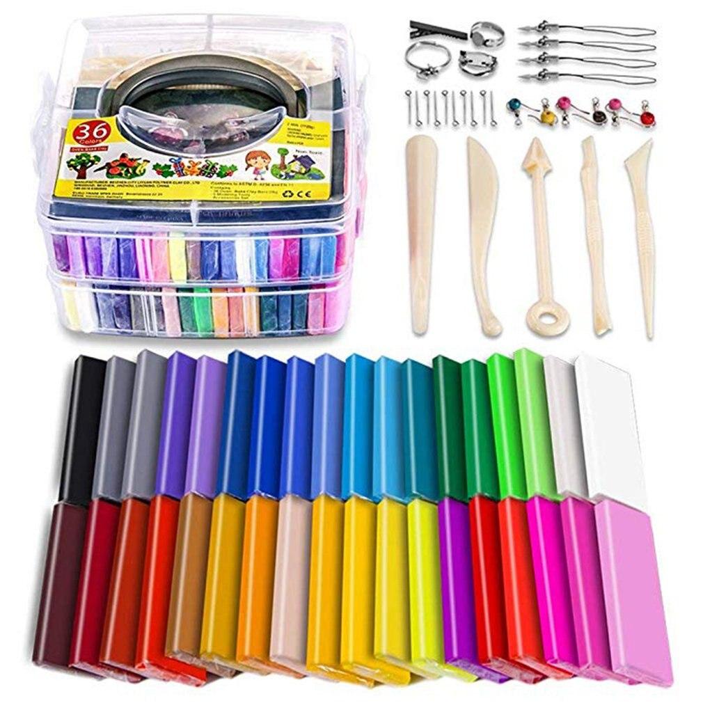 Polymer Clay Starter Kit 36 Farben Backofen Backen Ton Backen Modellierung Ton DIY Weichen Handwerk Lehm Zubehör und Lagerung Box 36 blöcke
