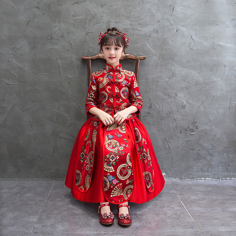 Girls Birthday Party Dress Flower Girl Wedding Gown Formal Kids Dresses For Girls Chinese Hanfu New Year's Clothes