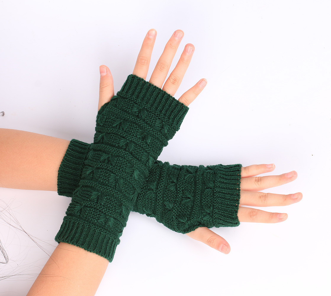 Button Knitted Mitten Long Gloves Autumn Women Wool Arm Warmers Winter Mangas Fingerless Gloves Guantes Tactical Gloves