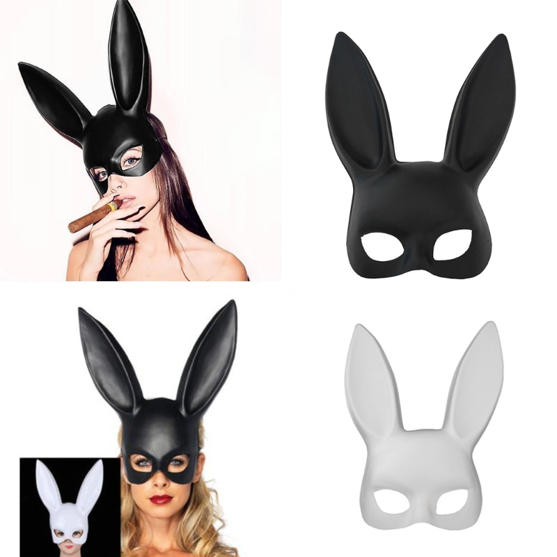 White Black Women Girl <font><b>Sexy</b></font> Rabbit Bunny Long Ears <font><b>Mask</b></font> <font><b>Halloween</b></font> Party Cosplay image