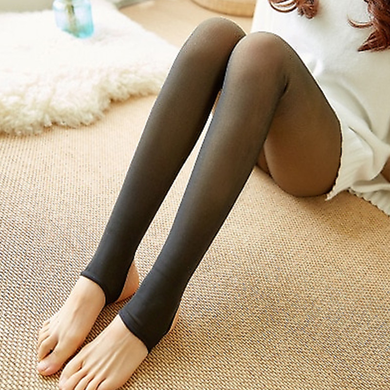 2019 Black Women Tights Winter Fake Translucent Pantyhose  Elastic Tights Warm Fleece Thick Pantyhose Girls Stockings 85g-320g