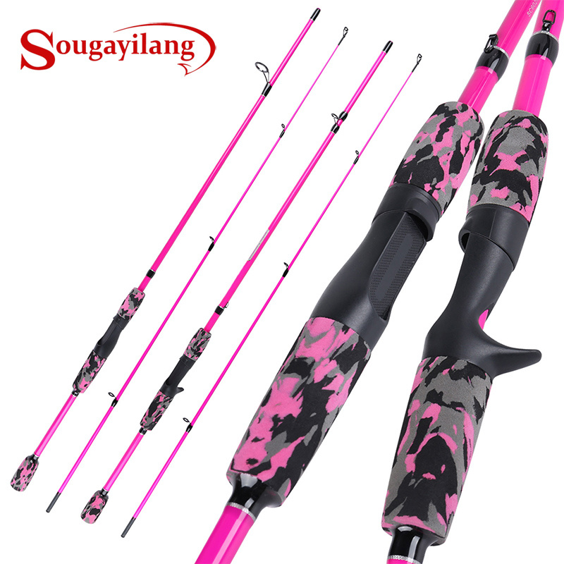 Sougayilang 2Sections 185cm Carbon Fiber Spinning/Casting Fishing Rod ABS Reel Seat Fishing Pole Travel Rod Fishing Tackle Pesca