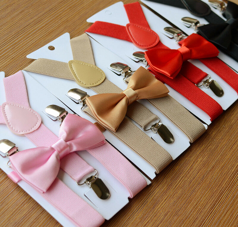 Baby Toddler Kids Adjustable Suspender And Bow Tie Set Tuxedo Wedding Suit Party Strap Clip