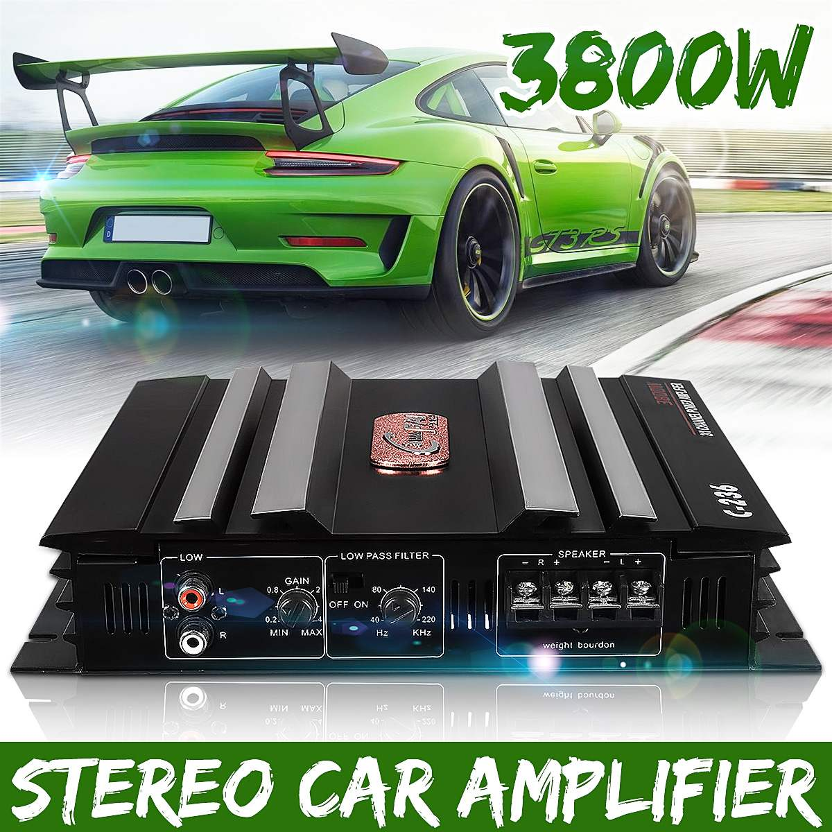3800W 2 Kanal Leistungsstarke subwoofer Auto Audio Verstärker Bass AMP Aluminium 12V DC auto verstärker verstärker auto subwoofer auto
