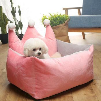Removible gruesa forma de corona de felpa nido perrera resistente a la captura de la Corona para perros de mascota mediano pequeño gato