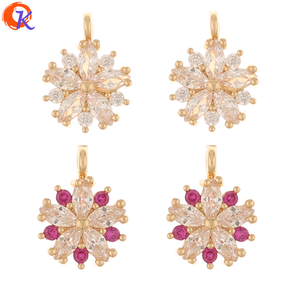 Cordial Design 50Pcs 9*12MM Jewelry Accessories/Rhinestone Pendant/Hand Made/Flower Shape/Earrings Findings/DIY Making/CZ Charms