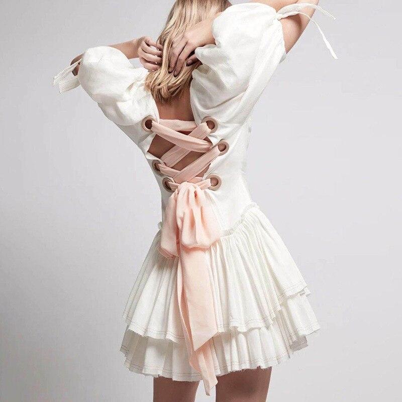 Women Ruffles Summer Dress Lace Up Hollow Out Backless High Waist Casual Dress 2020