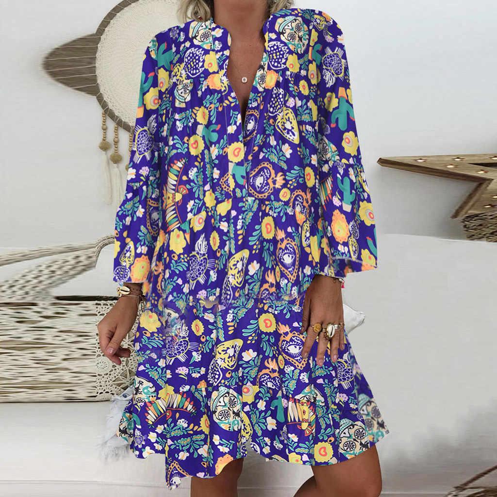 春秋の女性のドレスプラスサイズ 5XL 緩いプリントロングスリーブ V-襟ボタンパーティードレスカジュアルルース女性ドレス 2019