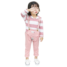цены на Girls Clothing Sets Autumn Striped Print Hoodie Blouse Top Trousers Strap Pants 2 PCS Long Sleeve Children Set Girl Clothes Suit  в интернет-магазинах