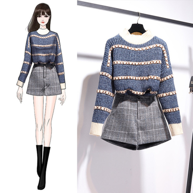 Autumn Winter Pullover Knitted Top Plaid Skirt 2pcs Sets Striped Long Sleeve Sweater+High Waist Plaid Shorts Two piece Sets