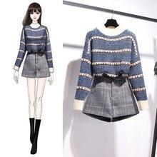 Pulôver tricotado para outono e inverno, xadrez, saia, 2 peças, conjunto listrado de manga comprida + shorts de cintura alta, dois conjuntos de peças