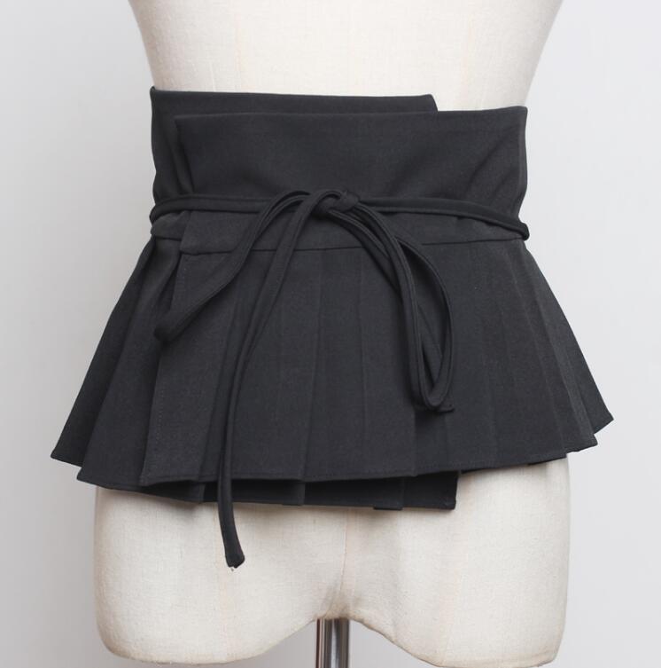 Women's Runway Fashion Black Cummerbunds Female Dress Corsets Waistband Belts Decoration Wide Belt R2252