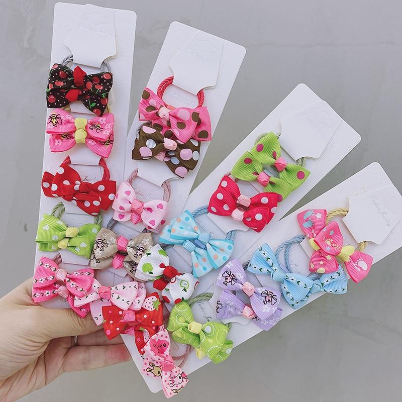 10pcsirls Fabric Handmade Bow Elastic Hair Bands Princess Headbands Rubber Bands Hair Rope Ponytail Holder Kids Hair Accessories