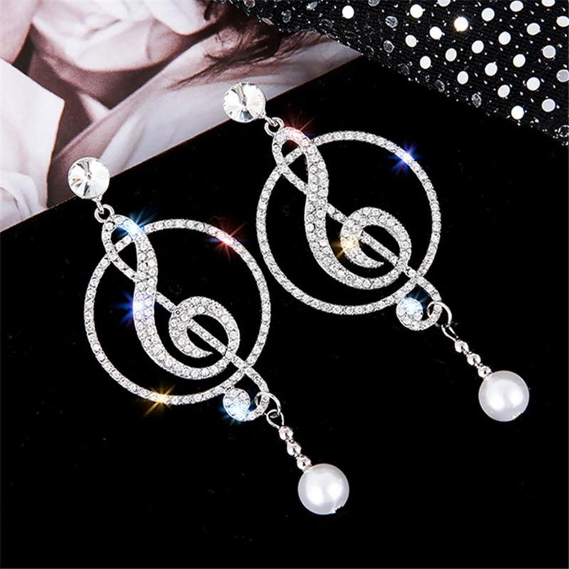 Music Symbol Treble Clef Rhinestone Crystal Drop Earrings