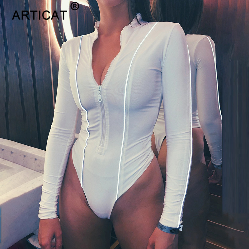 Articat Reflective Striped Sexy Bodysuit Women Tops Deep V Neck Zipper Bodycon Rompers Women Long Sleeve Party Overalls Playsuit