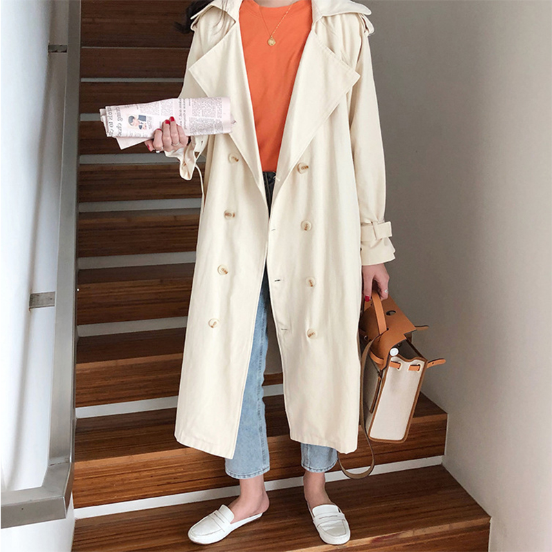 Cotton Trench Coat For Women Korean Style Women's Coats Lapel Collar Full Sleeve Women's Long Trench Coat Casual Loose Outwear