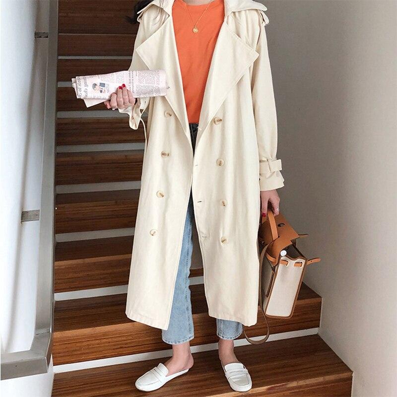 Cotton   Trench   Coat For Women Korean Style Women's Coats Lapel Collar Full Sleeve Women's Long   Trench   Coat Casual Loose Outwear