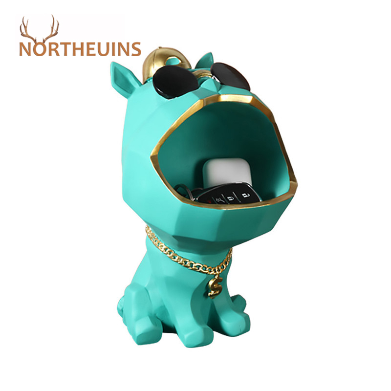 Фигурки классных собак NORTHEUINS, коробка для хранения с большим ртом собаки, Статуэтка из смолы, Декоративные животные, домашний декор, аксессу...
