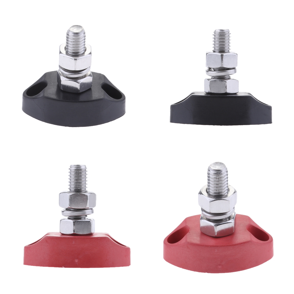 4Pieces Red & Black Junction Block Power Post Insulated Terminal Stud 6mm