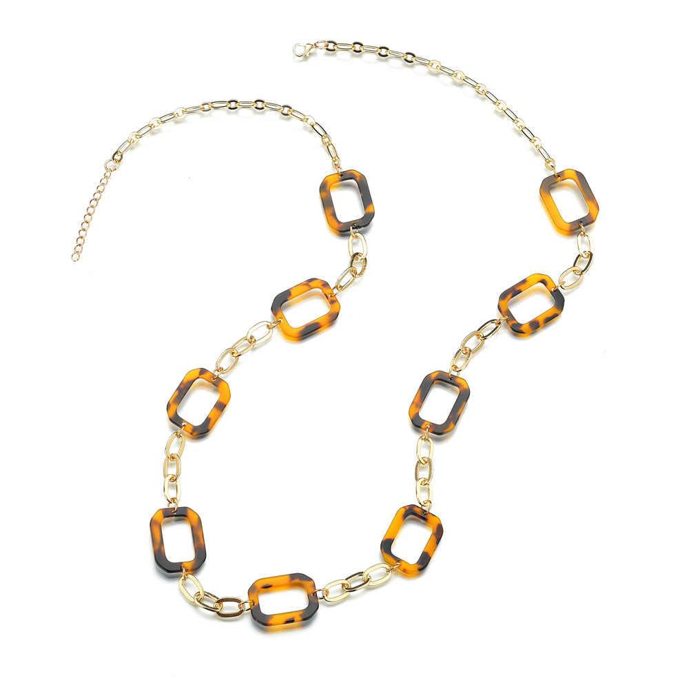 2020 Asam Asetat Rantai Kalung Berlebihan Leopard Bohemian Tortoiseshell Alloy Acrylic Kalung untuk Wanita Perhiasan