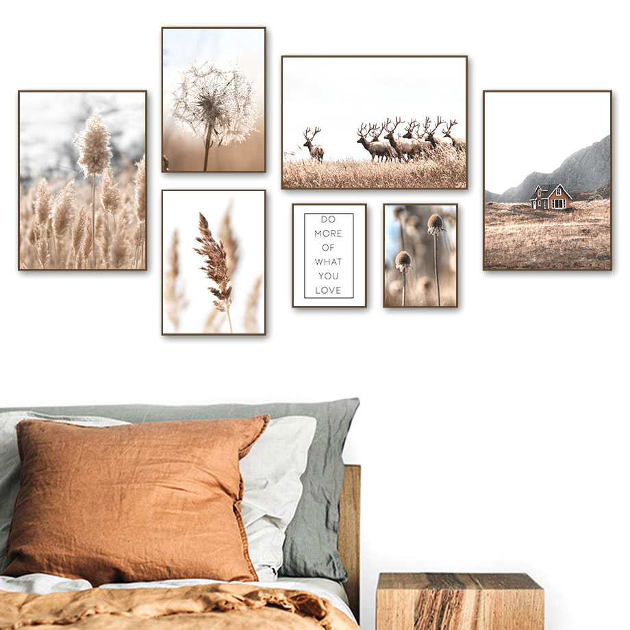 House Deer Dandelion Dead Grass Plant Wall Art Canvas Painting Nordic Posters And Prints Wall Pictures For Living Room Decor|Painting & Calligraphy| - AliExpress
