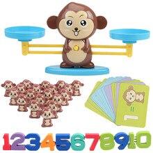 Математические игрушки Математика Монтессори балансировка весы Цифровая доска игра обучающая игрушечная обезьянка фигурка животного игрушка для детей младшего возраста