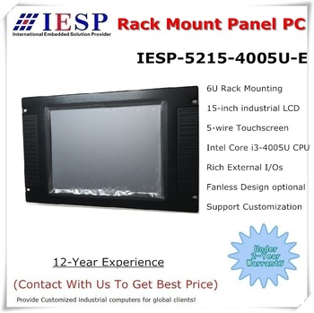 6U rack mount panel pc, Core i3-4005U CPU, 4GB DDR3, 64GB SSD, 4*RS232, 15 inch industrial panel pc, OEM/ODM