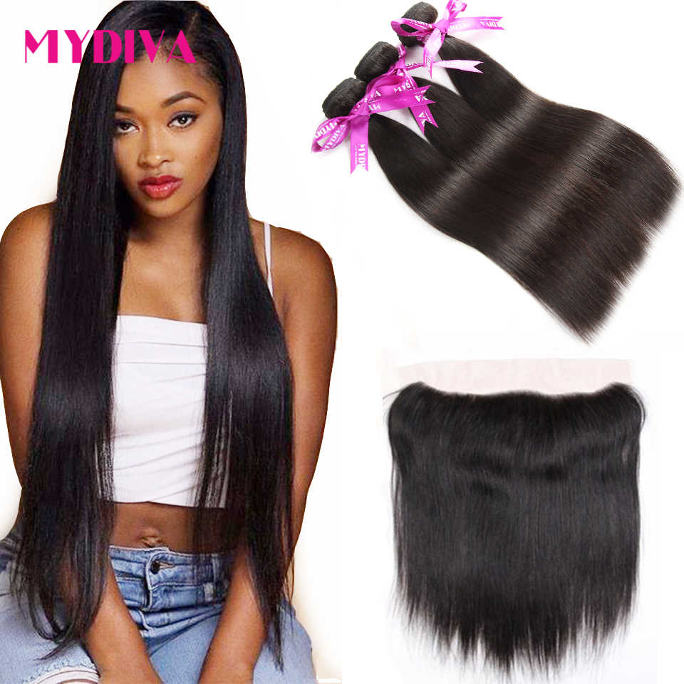 Mydiva Brazilian Straight Human Hair 3 Bundles With Closure Non Remy Hair Weave Bundles With Lace Frontal 4 Pcs/Lot 10-26""