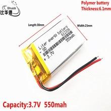 Boa bateria do li íon dos oradores mp3 da casa esperta 550 mah 3.7 v 612338 do polímero de qulity bateria para dvr, gps, mp3,mp4, telefone celular, alto falante