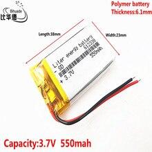 Bonne qualité polymère batterie 550 mah 3.7 V 612338 smart home MP3 haut parleurs Li ion batterie pour dvr,GPS,mp3,mp4, téléphone portable, haut parleur