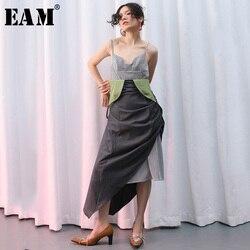 [EAM] Women Black Asymmetrical Plaid Split Joint Dress New V Neck Sleeveless Loose Fit Fashion Tide Spring Summer 2020 JQ370