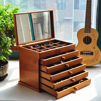 Upgraded version Wood Jewelry Box Storage Gift Display Box Jewelry Lagre Gift Box Packaging casket marriage gift box CY51619