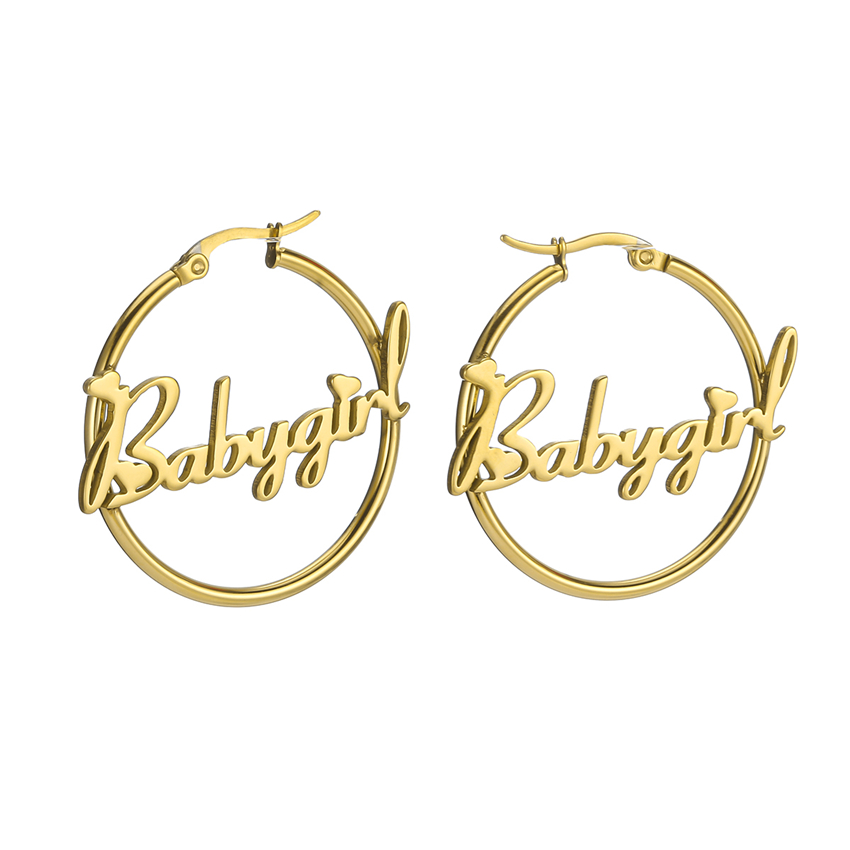 Senfai Personalized Custom Name Hoop Earrings Romantic Love Heart Girl Font Style Earrings Women Jewelry Mother's Day Gift