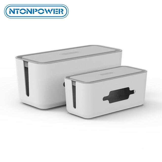 NTONPOWER caja de almacenamiento organizadora de cables, caja organizadora de cables de plástico con soporte, caja de gestión de regleta para el hogar y la Oficina