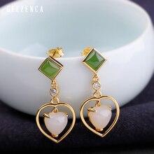 925 Sterling Silver Gold-plated Heart-shaped Jade Jasper Stud Earring Original Design Trendy Vintage Earrings Fine Jewelry Women