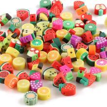 50pcs 10mm Fruit Animal Printing Beads Polymer Clay Beads Mixed Color Polymer Clay Spacer Beads for Jewelry Making DIY Bracelet