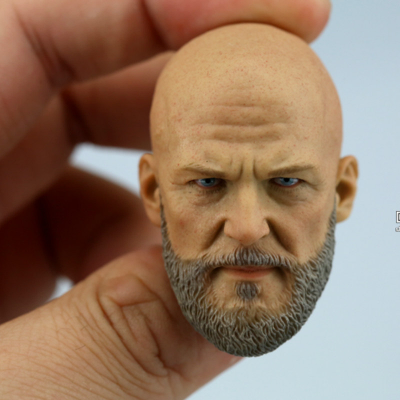 <font><b>1/6</b></font> Scale Handmade Iron Man BOSS <font><b>Bearded</b></font> Head Sculpt Male Head Carving with Neck for 12'' Action Figure Collection DIY image